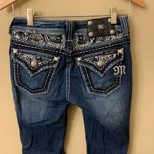 Miss Me Easy Boot Embellished Bling Jeans Size 25